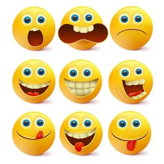 Caras sonrientes amarillas. plantilla de personajes emoji