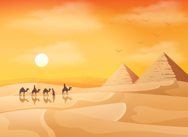 Caravana de camellos con fondo de paisaje de pirámides de egipto
