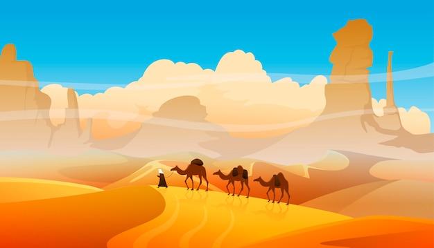 Caravana de camellos con pueblos árabes en paisaje desértico.