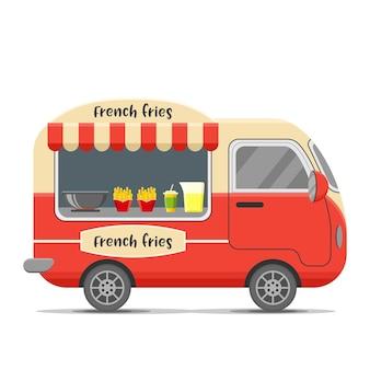Caravana de comida callejera con patatas fritas.