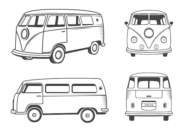 Caravana hippie en blanco y negro
