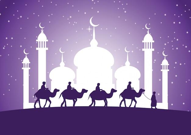 Caravana paseo musulmán camello a la mezquita