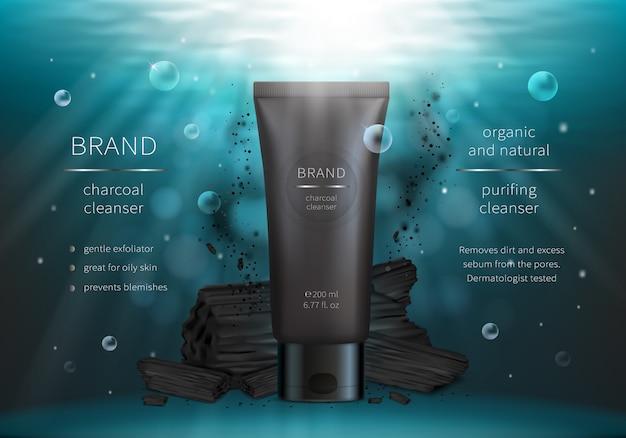 Carbón de leña lavado de cara vector realista cosmética