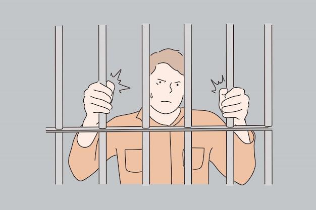 Cárcel, prisionero, concepto de crimen