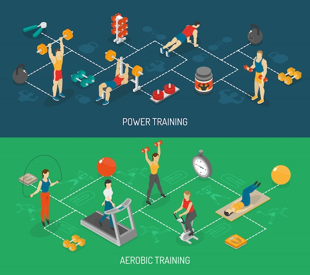 Cardio y entrenamiento de fuerza isométrica banners set
