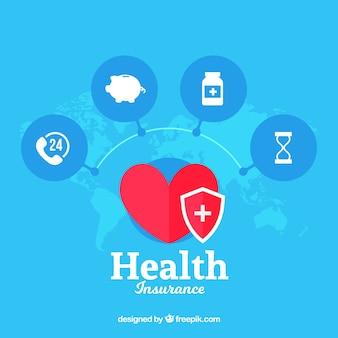 Cardiología internacional e iconos de salud