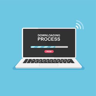 Carga de archivo en la computadora descargue y guarde el proceso el icono del documento se carga en la pantalla de la computadora portátil