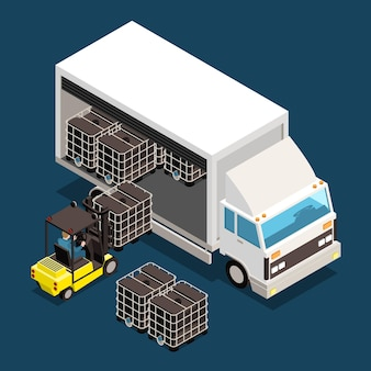 Carga cargada en una ilustración de camión grande