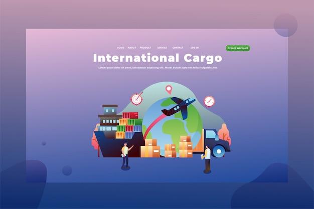 Carga internacional envía paquetes entre países entrega y carga encabezado de página web ilustración de plantilla de página de aterrizaje