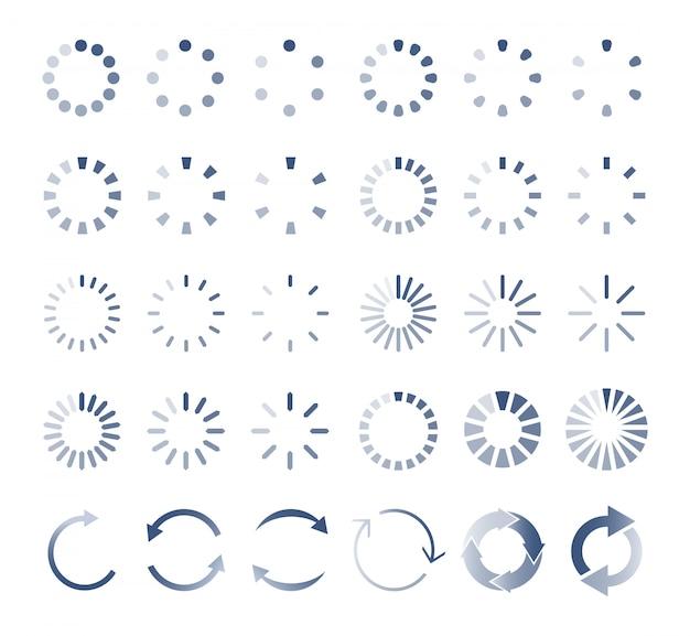 Cargador circular. descargar, cargar iconos indicadores.