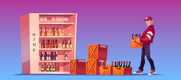 El cargador lleva caja con botellas para almacenar, almacenar o bar. entrega de bebidas alcohólicas. ilustración de dibujos animados con hombre sosteniendo una caja de madera con botellas de vino y vidrio en el stand