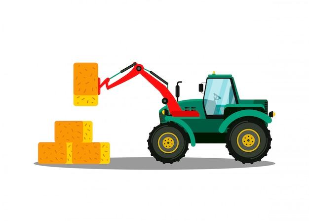 Cargadora de pacas de tractor plana. maquinaria de agricultura