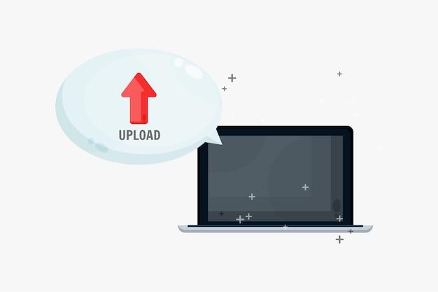 Cargar archivos en una computadora portátil con discurso de burbuja