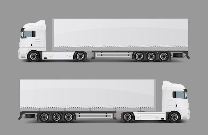 Cargo semi camión con vector realista de remolque