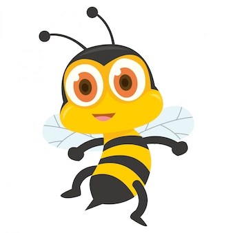 Caricatura de abeja amarilla mostrando su picadura