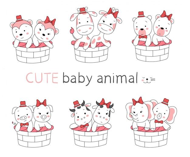 La caricatura animal lindo bebé con cesta en blanco