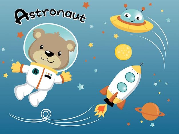 Caricatura de astronauta en el espacio exterior.