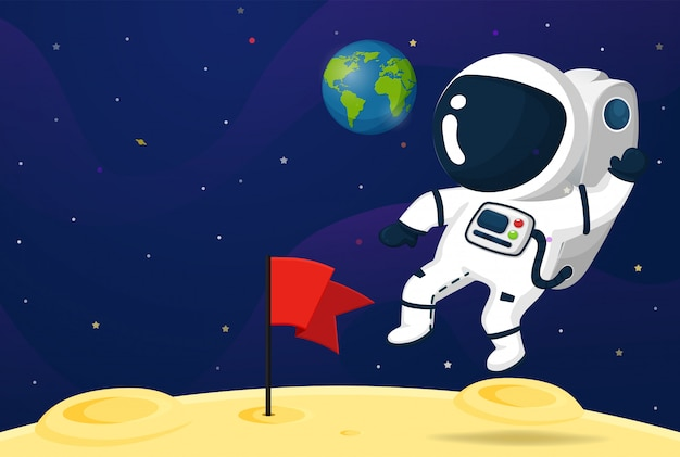 Una caricatura de astronauta que salió a explorar los planetas del sistema solar.