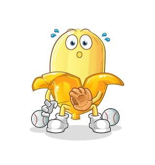 La caricatura de banana baseball catcher. mascota de dibujos animados