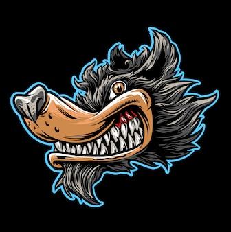 Caricatura de cabeza de lobo