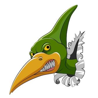 La caricatura de la cabeza de pteranodon sale de la gran pared para el dinosaurio del libro de cuentos.
