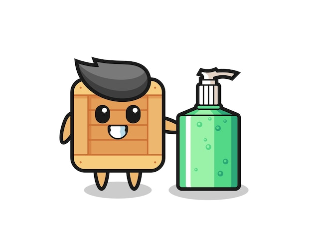 Caricatura de caja de madera linda con desinfectante de manos, diseño de estilo lindo para camiseta, pegatina, elemento de logotipo