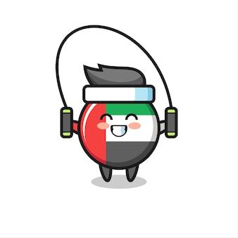Caricatura de carácter de insignia de bandera de emiratos árabes unidos con cuerda de saltar, diseño de estilo lindo para camiseta, pegatina, elemento de logotipo