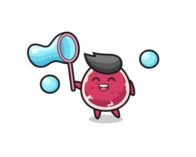 Caricatura de carne feliz jugando pompas de jabón, diseño de estilo lindo para camiseta, pegatina, elemento de logotipo