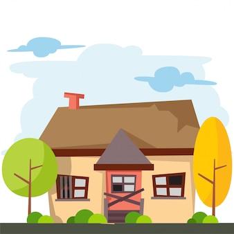 Caricatura de casa con puertas y ventanas rotas