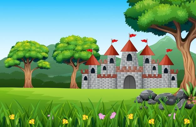 Caricatura de castillo de cuento de hadas con paisaje natural.