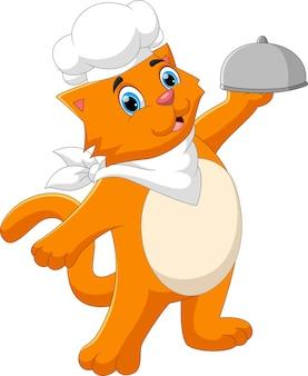 Caricatura, chef, gato, proceso de llevar, comida, bandeja
