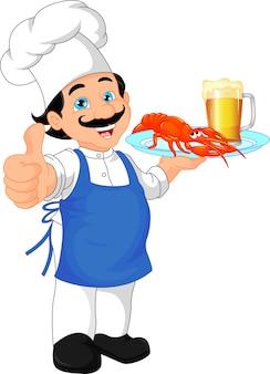 Caricatura del chef golpe hasta