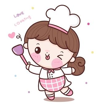 Caricatura de chef linda chica con espátula panadería kawaii