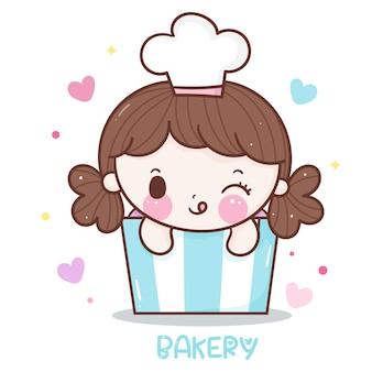 Caricatura de chef linda chica en estilo kawaii dulce cupcake