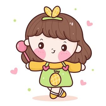 Caricatura de chef linda chica con vestido de piña de uso de cuchara estilo kawaii