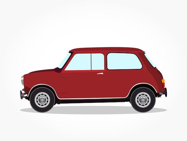 Caricatura de coche de portón trasero rojo clásico con efecto lateral y de sombra detallada
