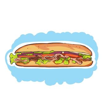 Una caricatura colorida sub sandwich con lechuga, tomate, carne y queso