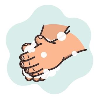 Caricatura de cómo lavarse bien las manos con jabón