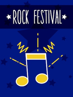 Caricatura de rock festival music notes