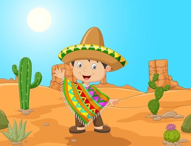 Caricatura de un niño mexicano agitando la mano