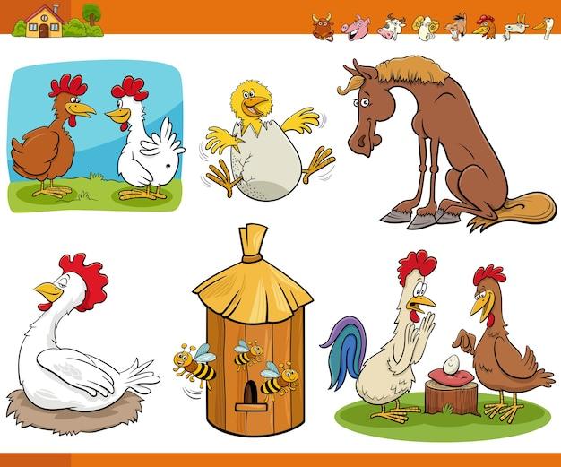 Caricatura, divertido, granja, animal, cómic, caracteres, conjunto