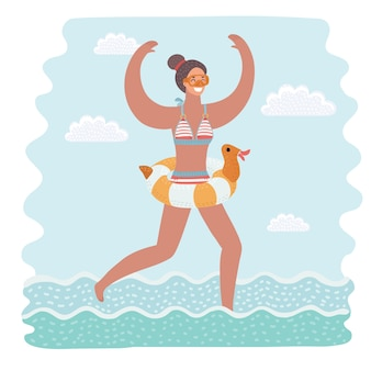 Caricatura, divertido, ilustración, de, delgado y atractivo, mujer joven, en, amarillo, traje de baño, funcionamiento, en, agua de mar, ir a nadar anillo de goma. carácter aislado colorido sobre fondo blanco.