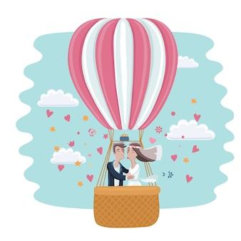 Caricatura, divertido, ilustración, de, la novia y el novio, besar, en, un, globo aerostático, en, el, cielo, y, nubes