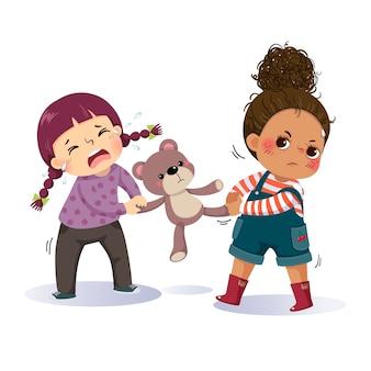 Caricatura de dos niñas peleando por un oso de peluche. el conflicto entre niños.