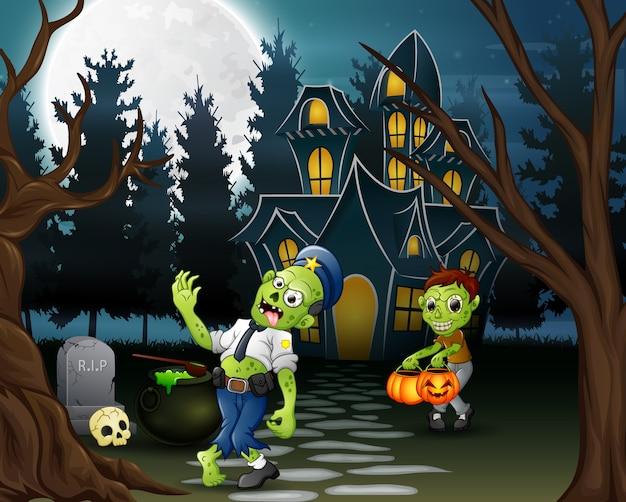 Caricatura de dos zombies frente a la casa embrujada.