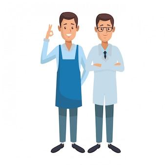 Caricatura de empleados del día del trabajo