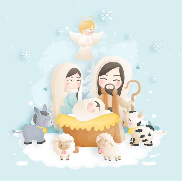 Una caricatura de la escena de la natividad de navidad, con el niño jesús, maría y josé en el pesebre con burro y otros animales. ilustración religiosa cristiana.