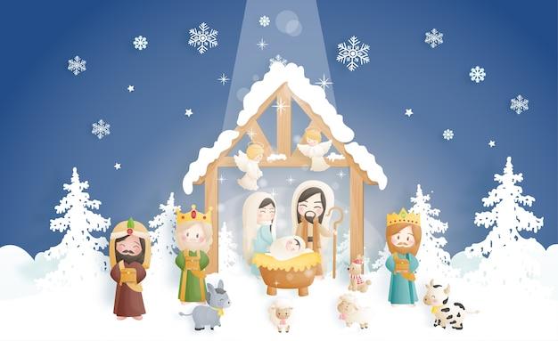 Una caricatura de la escena de la natividad de navidad, con el niño jesús en el pesebre con ángeles, burros y otros animales. religioso cristiano