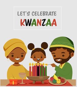 Caricatura familiar linda celebrando el festival de kwanzaa