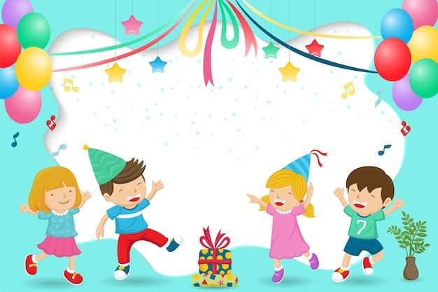 Caricatura de feliz grupo de niños celebrando una fiesta